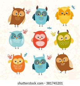 Set cute owls. colorful birds. vector illustration.