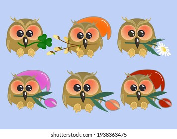 Set of cute owls with different symbols in their beak. Bright good-natured cartoon character. Vector illustration with funny bird for the feast of love and fidelity.