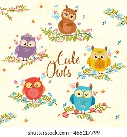 set of cute owls on branch in flowers. bright illustration. owl lovers. vector illustration.