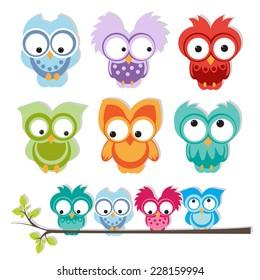 set of cute owls. vector