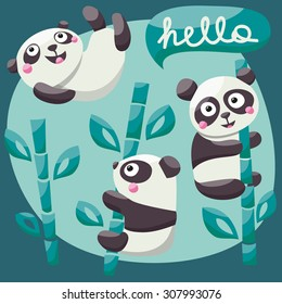 Set cute Panda and bamboo with hello