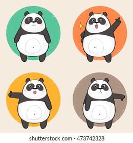 Set of a cute panda bear stickers in various poses. Cartoon character