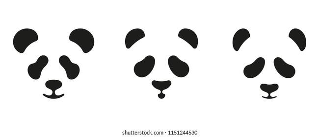 Set of cute panda faces. Vector icons or logo design