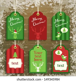 set of cute paper christmas tags, vector illustration, eps10