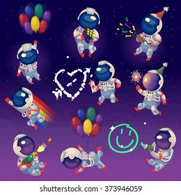 Set of cute party astronauts in space, having fun and celebrating. Isolated images.