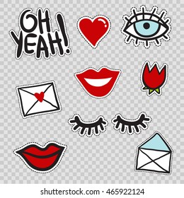 Set of cute patches elements: lowered lashes, oh yeah phrase, blue eye, red tulip flower, envelope, love mail, heart, smile lips. Vector stikers kit. Modern doodle pop art sketch badges and pins.