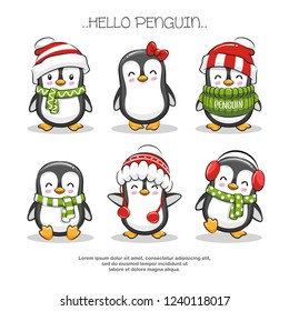 Set Cute Penguin Character Cartoon Illustration