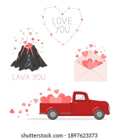 Set of cute pictures for Valentine Day. Red pickup truck with hearts, love envelope, volcano lover, and hearts constellation. Cards for a Saint Valentine Day. Vector illustration collection.