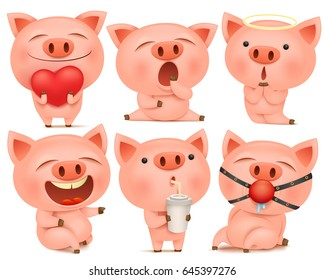Set of cute pig cartoon characters in various poses. Vector illustration