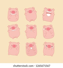 Set of cute pig cartoon posing in different actions. Emotional pink piggy characters, happy, funny, scary, angry, sad. Year of the pig - isolated vector design on background.  For card, poster, banner