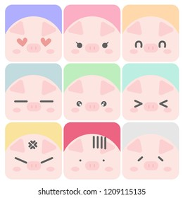 Set of cute pig emoticons. Vector illustration