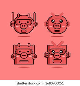 Set of cute pig head cyborg cartoon vector illustration