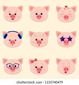 Set of cute piggy face different emotions in cartoon style, flat design, vector illustration