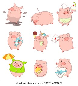Set of cute pigs in kawaii style. Funny, happy, laughing, playing in mud, sleeping,  running, eating, with cake, with letter, with ice cream and a glass of soda, in a raincoat with an umbrella. EPS8