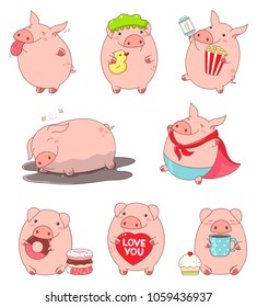 Set of cute pigs in kawaii style. Teases showing tongue, in superhero costume, with popcorn and ticket, sleeps in the mud, eats donut, drinks tea, with toy, holds heart with inscription love you. EPS8