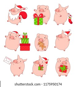 Set of cute pigs in kawaii style. With gifts, in Santa Claus costume, with letter, sock, eat ginger cookie, in red hat. EPS8