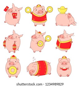 Set of cute pigs in kawaii style. Symbol of chinese new year. Piglets in traditional Chinese clothes, with gold money, with money envelopes. EPS8