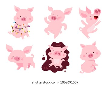 Set of cute pigs. The symbol of the Chinese new 2019 year. Vector illustration on white background. Elements for design.