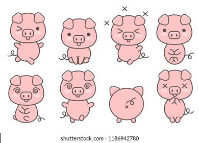 Set of cute pigs with various emotions and poses. Kawaii pink piglets. Symbol of Chinese New Year.