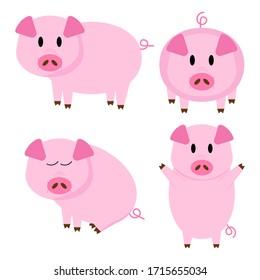 Set of Cute Pigs Vector Illustration