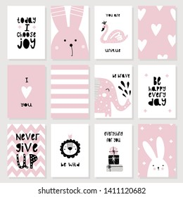 A set of cute pink cards and posters with animals. Hare, lion, elephant, swan, motivational phrases, gifts, hearts. Vector illustration for kids. Printing on posters, postcards, clothing.