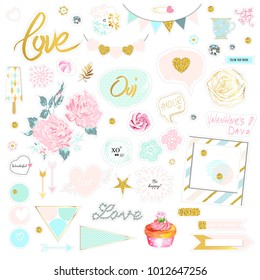 Set of cute pink and gold vector illustrations. Stickers pack for scrapbooking. Flowers, sunglasses, diamonds, sweet, hearts. Refined chipboard design.