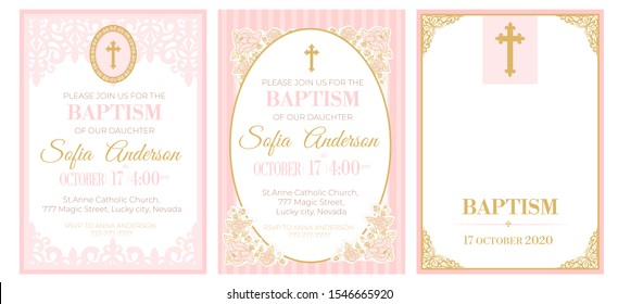 A set of cute pink templates for Baptism invitations. Vintage rose lace frame with golden cross. Girl christening ceremony. A little princess party. Baby shower, wedding, girl birthday invite A5 card