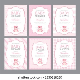 A set of cute pink templates for invitations. Invitation with cute bear. A cute bear party. Baby shower, wedding, girl birthday invite card. size 5in x 7in