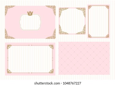 A set of cute pink templates for invitations.Vintage gold frame with crown. A little princess party. Baby shower, wedding, girl birthday invite card. Cute picture border. Decorative golden corner.