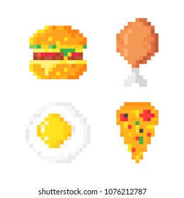 Set of cute pixel art food icons: hamburger, pizza, scrambled eggs and chicken leg. Food icons. Isolated pixel art vector illustration on white background.