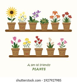 A set of cute plants in pots and with names. Vector graphics.