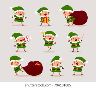 Set of cute playful Christmas elves. Collection of cute Santa Claus helpers. Happy New Year, Merry Xmas design element. Isolated. Good for card, banner, flayer, leaflet, poster. Vector illustration