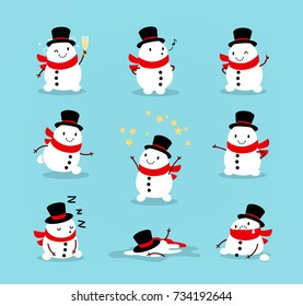 Set of cute playful snowmen. Elements from the Christmas collection of characters. Happy New Year, Merry Xmas design element. Good for card, banner, flayer, leaflet, poster. Vector illustration. Set 2