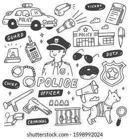 Set of Cute Police Related Objects in Doodle Style
