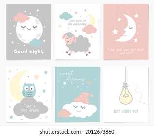 A set of cute postcards for good night greetings