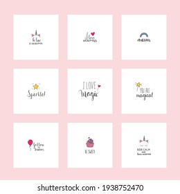 Set of cute posters. Sweet inscription about magic and unicorns. Ideal for posters, invitations, greeting cards, print for clothes, mugs, pillows, stickers,  banners, websites, blogs, booklets, flyer
