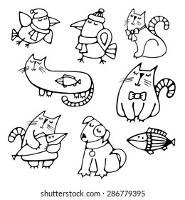 Set of cute pretty hand-drawn pets volume simple contour dreaming cats with fish, dog and crows Easy circuit for embroidery, painting, creating application or element of design Vector art illustration