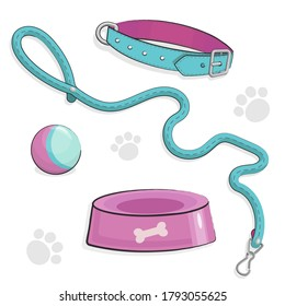 Set of Cute Puppy or Kitty stuff. Dog and cat collar and leash. Pet Shop or Vet Concept. Vector illustration isolated on white background. Cartoon pet care. Funny lovely goods for pet hotel.