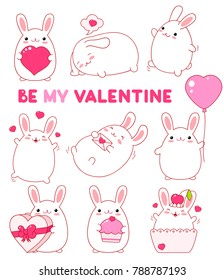 "Set of cute rabbits in kawaii style. Funny, happy, laughing, playing, sleeping,  running, with balloon, with cake, heart. Inscription ""Be my Valentine"". Stickers for Valentine day. EPS8"