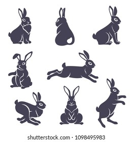 Set of cute rabbits silhouettes in various poses isolated on white background. Hare characters sitting and running. Vector illustration.