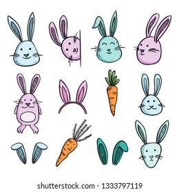 set of cute rabit or bunny with wortel