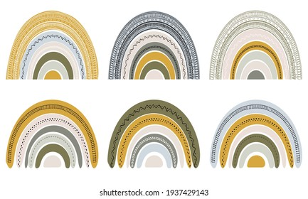 Set of cute rainbows in scandinavian style. Watercolor rainbow isolated on a white background. Pastel colors. Modern art. Bohemian style colors. Boho pastel rainbow.