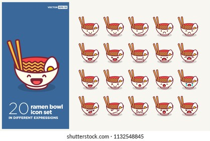 Set of Cute Ramen Bowl Emoji Line Icons In Different Expressions