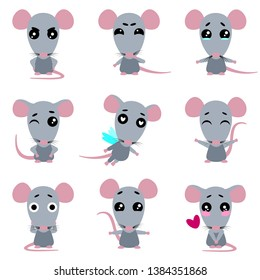 Set of cute rats character with different emotions. Cartoon rat. Vector collection.