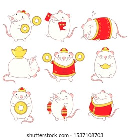 Set of cute rats in kawaii style. Symbol of chinese new year 2020. White rats in traditional Chinese clothes, with gold money, with money envelopes. EPS8