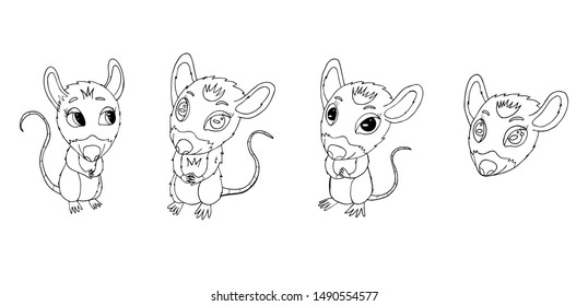 set of cute rats for new year 2020. Sketch of cute rat character