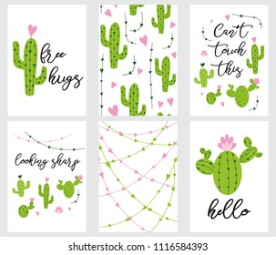 Set cute ready-to-use gift tags with cactus. Cactus, hearts, cacti and quotes text. Printable collection of hand drawn cactus label in ggreen pink colors. Vector badge design print banner template