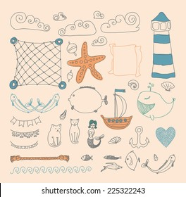set cute retro sea objects collection. vector illustration