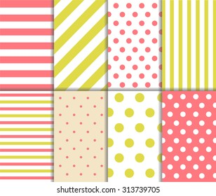 Set of cute retro seamless big and small polka dot pattern and lined textile on pastel yellow and light red color background with white spots, stripes and lines. Vector art image abstract illustration