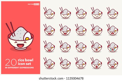 Set of Cute Rice Bowl Emoji Line Icons In Different Expressions